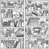 Bücherregal gezeichnet  Handgezeichnetes Bücherregal (seamless pattern)