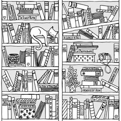 Bücherregal clipart schwarz weiß  Bilder und Videos suchen: handzeichnung