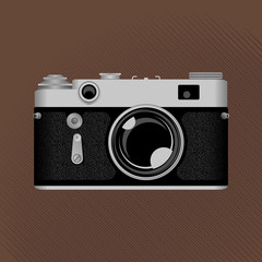 Vintage film camera. Old photo camera on the sepia background. Stock vector illustration.