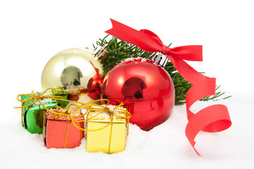 christmas ornaments are isolated