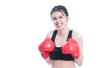 Boxer woman. Boxing fitness woman smiling happy wearing red boxing gloves on white background.