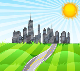 Solar Road in the City of Nature. Vector Illustration.