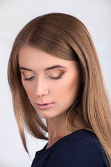 Beautiful Face of Young Woman with Clean Fresh Skin close up isolated
