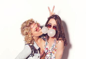 Two best girlfriends  having fun