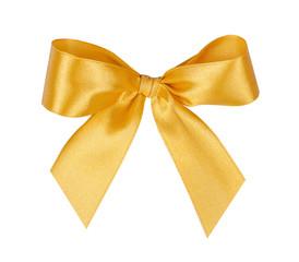 Elegant yellow, golden gift ribbon bow, satin, isolated on white