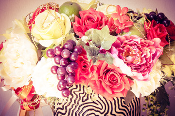 Beautiful bouquet of flowers Vintage style photo and filtered process.