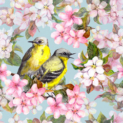 Seamless repeated floral pattern - pink cherry, sakura and apple flowers with birds. Watercolor
