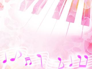 イラスト 素材 桜とピアノ