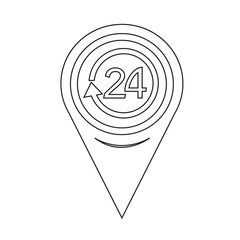 Map Pointer 24 hours icon