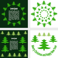 postcards consisting of Christmas trees