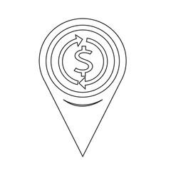 Map Pin Pointer Money dollar sign icon