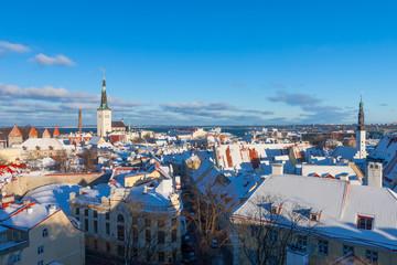 Tallinn winter city panoramic landscape