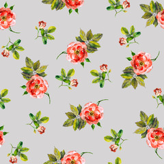 Pretty seamless floral backdrop with pink roses and buds in gray background