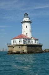 Leuchtturm an der Hafeneinfahrt Chicago