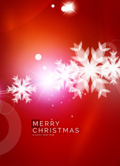 Christmas red abstract background with white transparent snowflakes