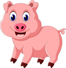 Cute pig cartoon posing of illustration