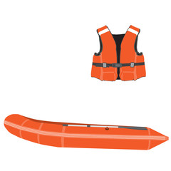 Inflatable boat and life vest