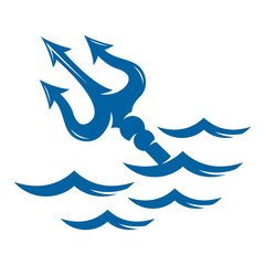 Trident on the waves vector logo