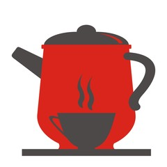 Teapot and cup, black and red vector icon.
