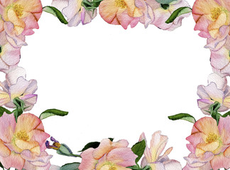 Beautiful delicate frame of roses in watercolor style