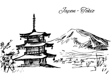 Hand drawn japanese multi-storey pagoda scene