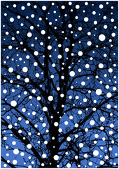cartoon winter illustration with tree and snow flakes