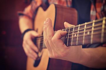 Guitarist Playing On Guitar