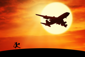 Foto op Textielframe Helicopter Worker with suitcase running to chase plane
