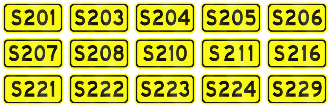 Collection of Chinese numbered provincial road markers