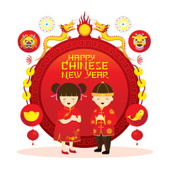 Chinese New Year Label, Boy and Girl, Traditional Celebration, China