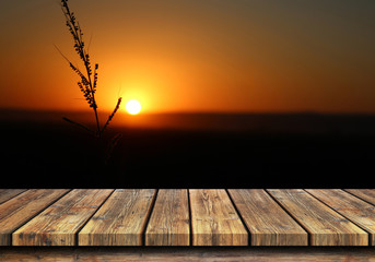 Wooden Floor and sky wiith sunset background