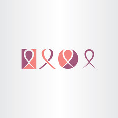 cancer ribbon icon set vector logo