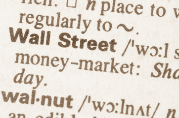 Dictionary definition of word Wall Street
