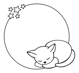 Round outline frame with sleeping cat