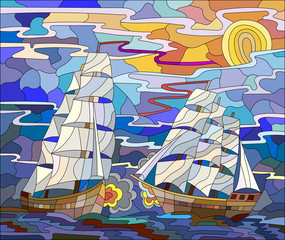 Seascape in the stained glass style battle with two sailboats in the sky and orange sunset