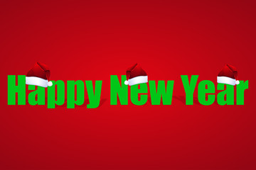 Illustration for the New Year on red background with hat