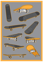 skateboard vector set collection