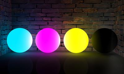 3D CMYK glowing points
