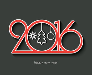 2016 Happy new year creative design for your greetings card, fly
