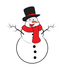 Christmas snowman cartoon design for card. Winter icon, symbol vector illustration isolated on white background.