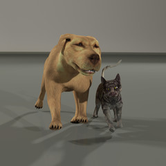a rendering of a dog and cat friends walking along