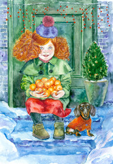 Watercolor painting. New year greeting card. Girl and tangerines on the snowy porch.