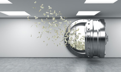 open safe in bank depository, money flying out from it