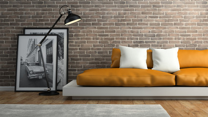 Part of  interior with brick wall and orange sofa 3D rendering