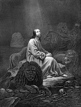An engraved vintage illustration image of Daniel in the Lions Den of the Old Testament Bible, from a Victorian book dated 1886 that is no longer in copyright