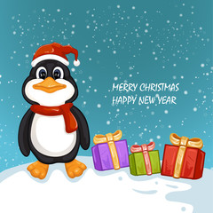 Cute penguin with Christmas gifts. Merry Christmas and Happy New Year design