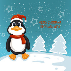 Cute penguin . Merry Christmas and Happy New Year design