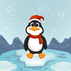 A cute little Christmas penguin on a bit of ice