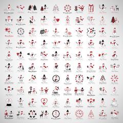Fond de hotte en verre imprimé Hibou Snowman Icons And Christmas Elements Set