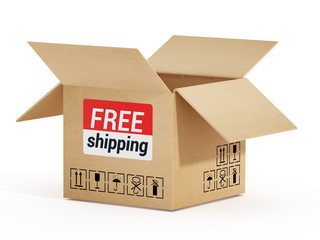 Cardboard box with free shipping text